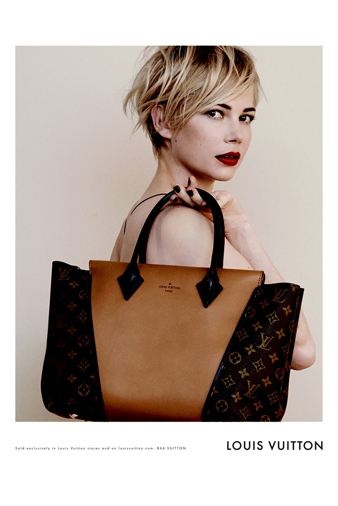 Michelle Williams Louis V burgundy lips